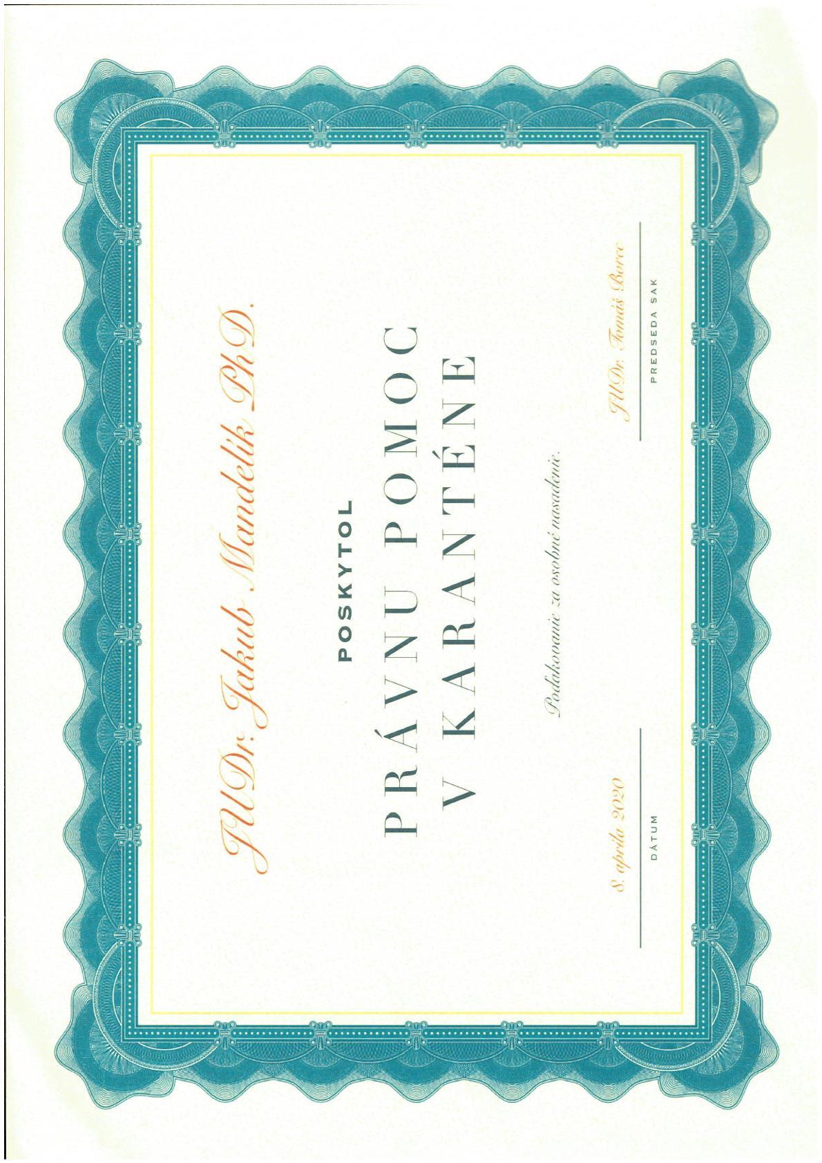 Diplom za právnu pomoc v karanténe